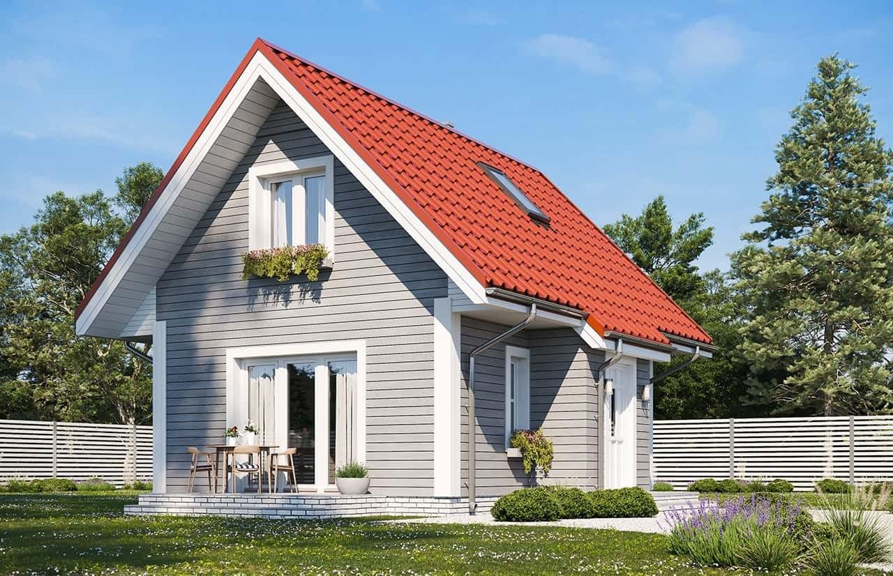 Projekt domu Sosenka drewniana wariant B - wizualizacja ogrodowa odbicie lustrzane