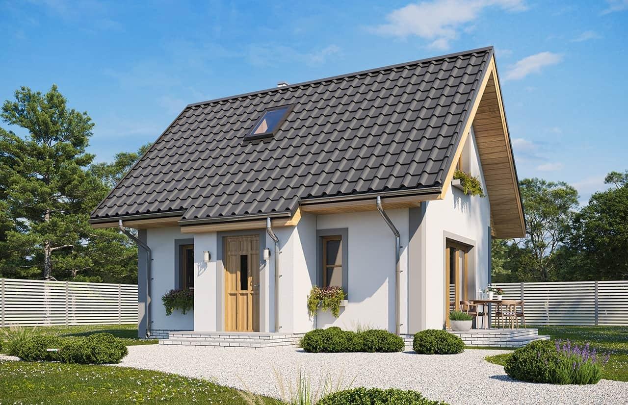 Projekt domu Sosenka wariant D - wizualizacja frontowa