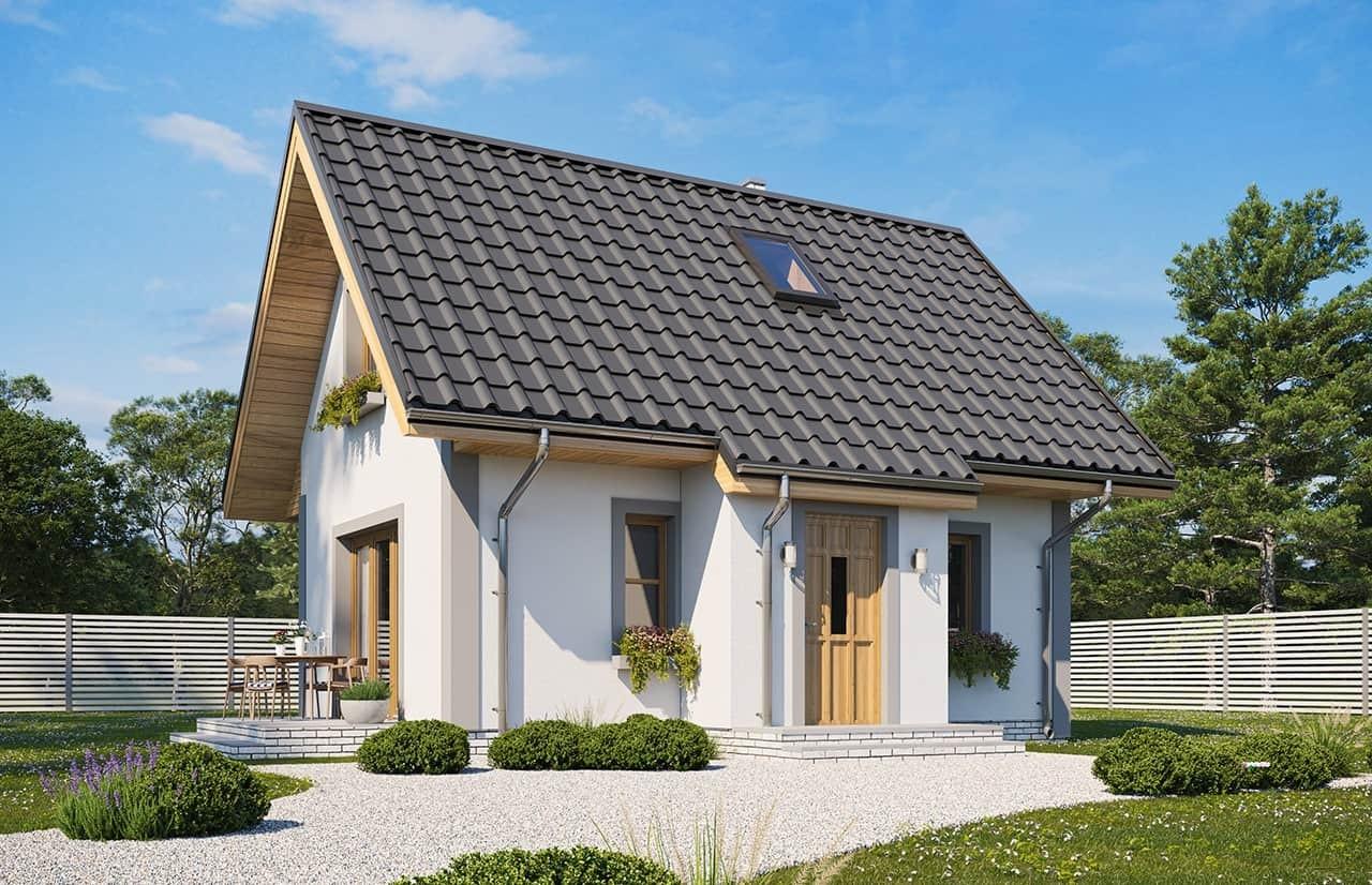 Projekt domu Sosenka wariant D - wizualizacja frontowa odbicie lustrzane