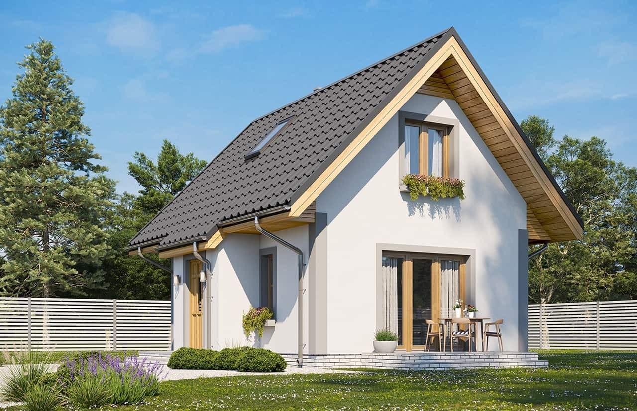 Projekt domu Sosenka wariant D - wizualizacja ogrodowa