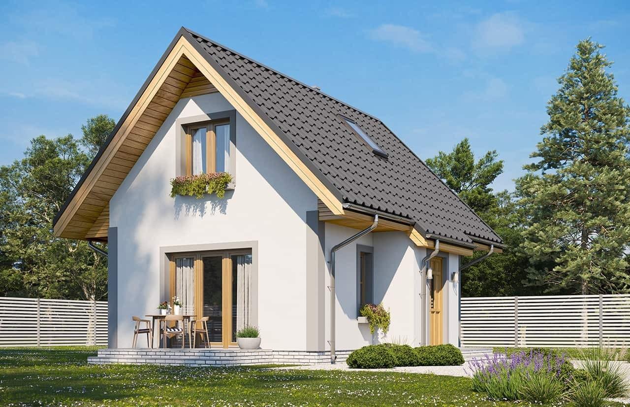Projekt domu Sosenka wariant D - wizualizacja ogrodowa odbicie lustrzane