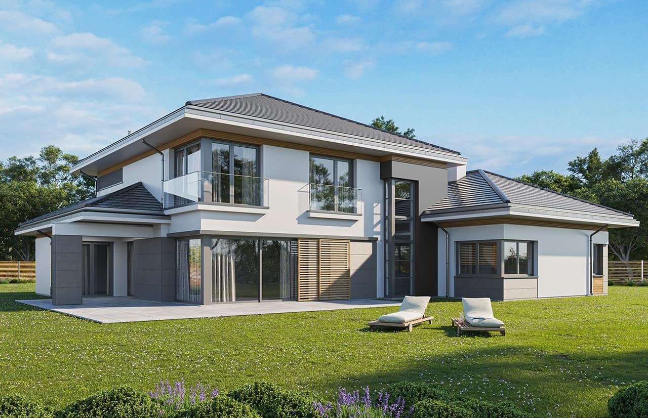 Projekt domu Spokojny zakątek wariant B - wizualizacja ogrodowa