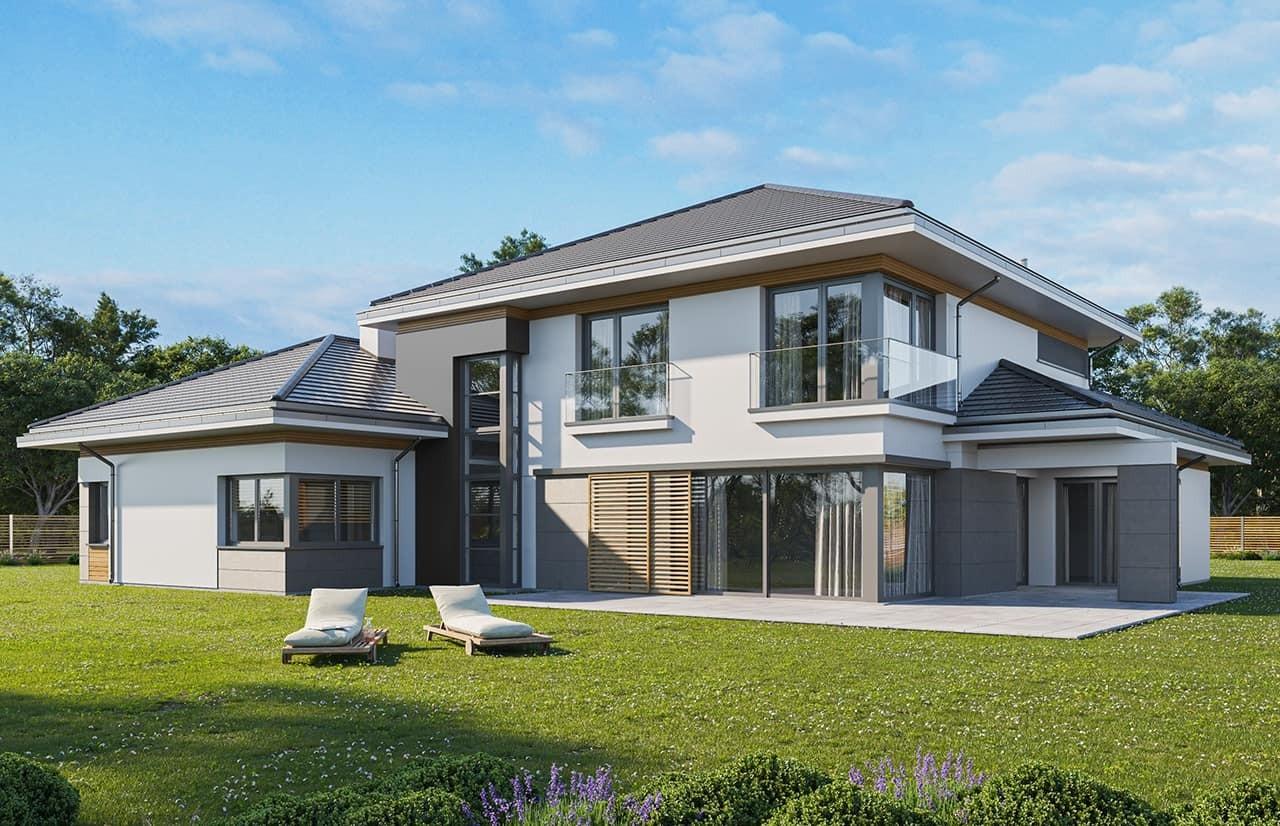 Projekt domu Spokojny zakątek wariant B - wizualizacja ogrodowa odbicie lustrzane