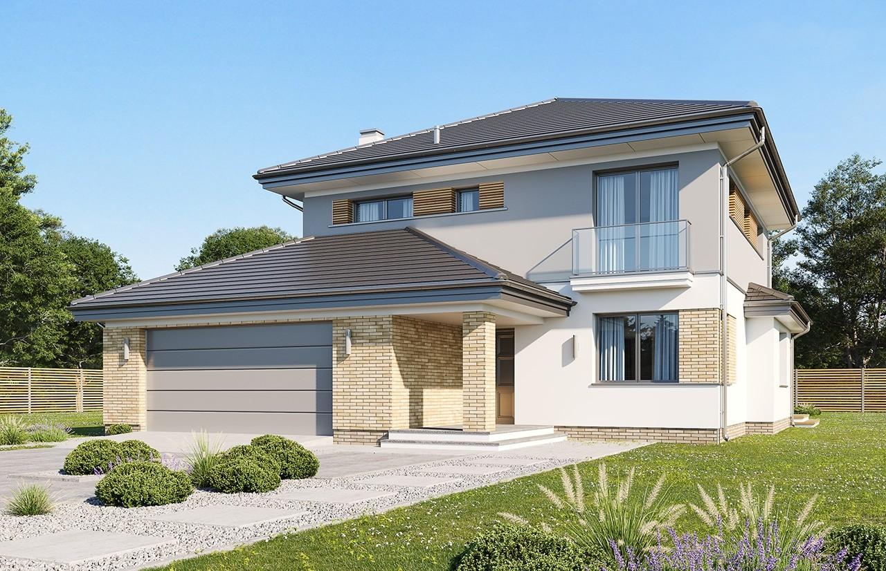 Projekt domu Szmaragd 5 B - wizualizacja frontowa odbicie lustrzane