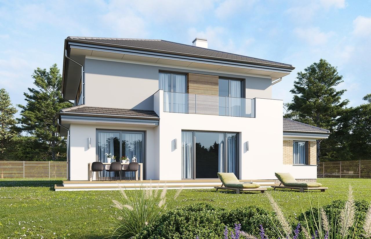 Projekt domu Szmaragd 5 B - wizualizacja tylna odbicie lustrzane
