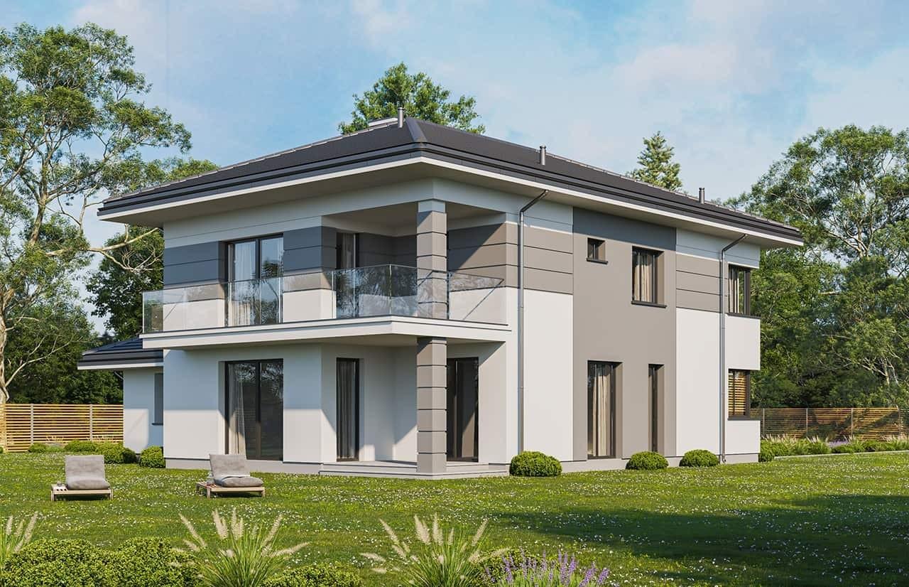 Projekt domu Szmaragd 5 wariant C - wizualizacja ogrodowa