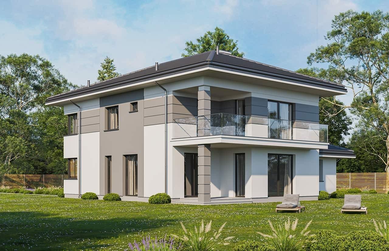 Projekt domu Szmaragd 5 wariant C - wizualizacja ogrodowa odbicie lustrzane