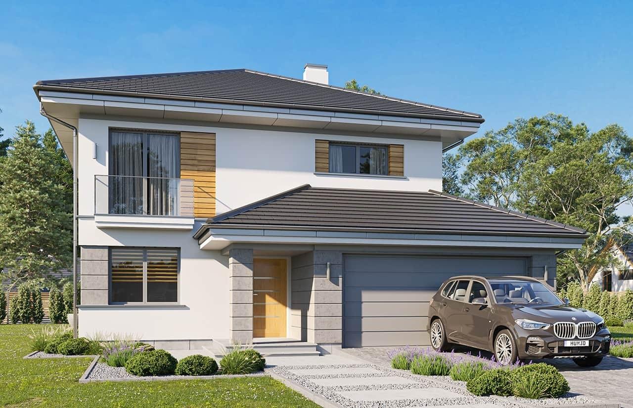 Projekt domu Szmaragd 6 wariant B - wizualizacja frontowa