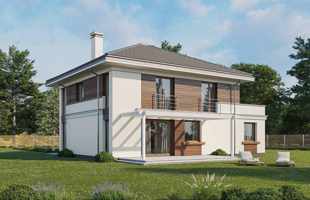 Projekt domu Tytan 3 wariant C - wizualizacja ogrodowa odbicie lustrzane