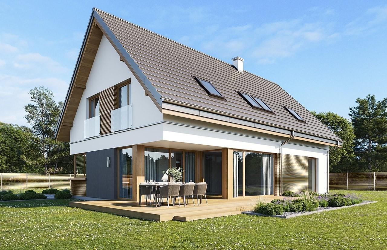 Projekt domu Viking 5 wariant B wizualizacja tylna