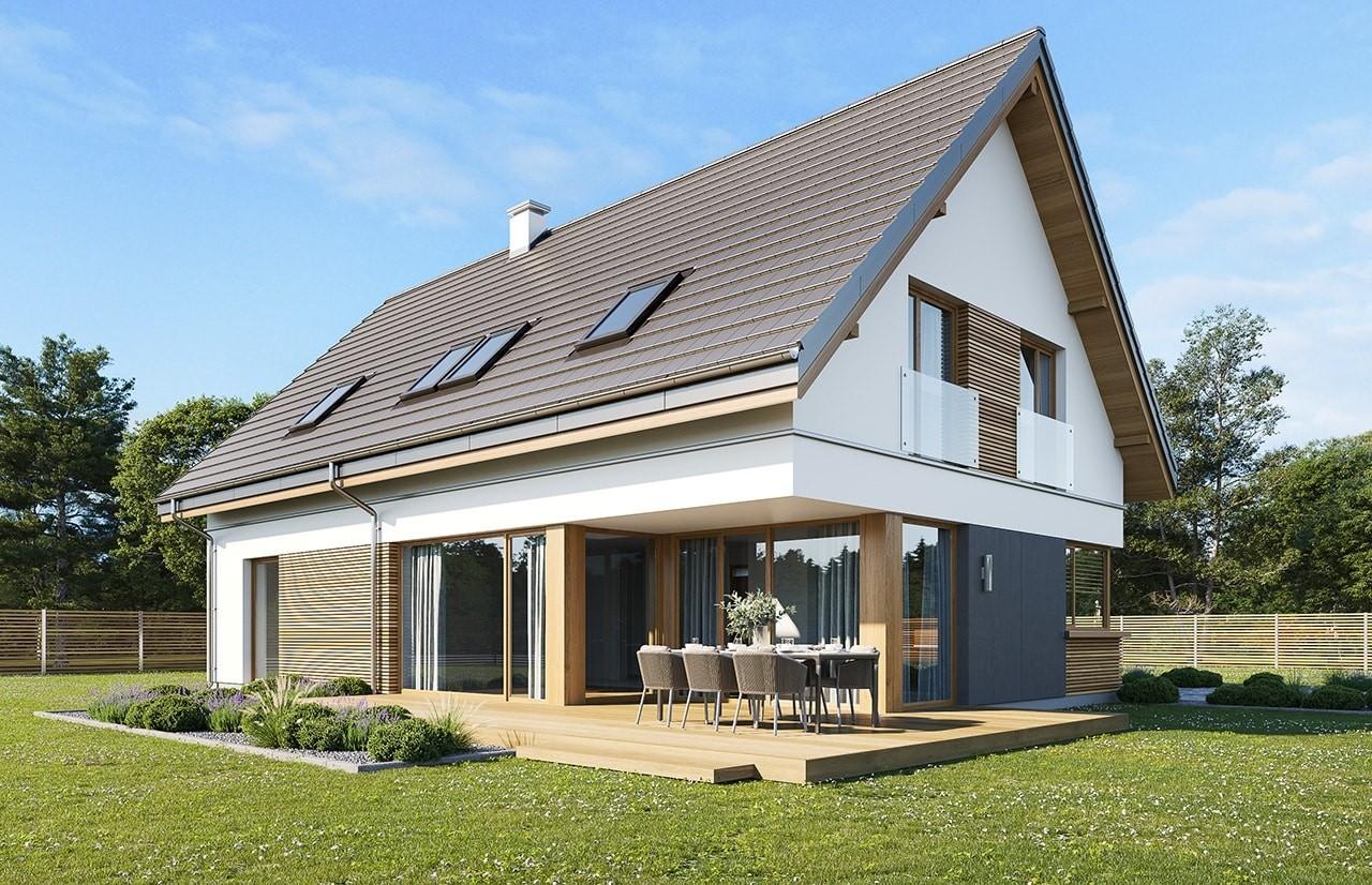 Projekt domu Viking 5 wariant B wizualizacja tylna odbicie lustrzane