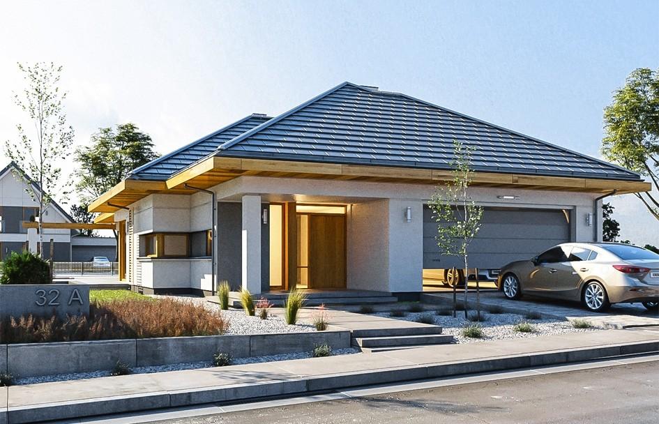 Projekt domu Wąski - wizualizacja frontowa