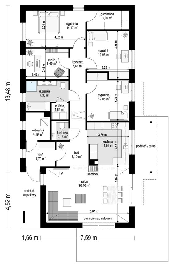 Projekt domu Wąski 2 - rzut parteru odbicie lustrzane