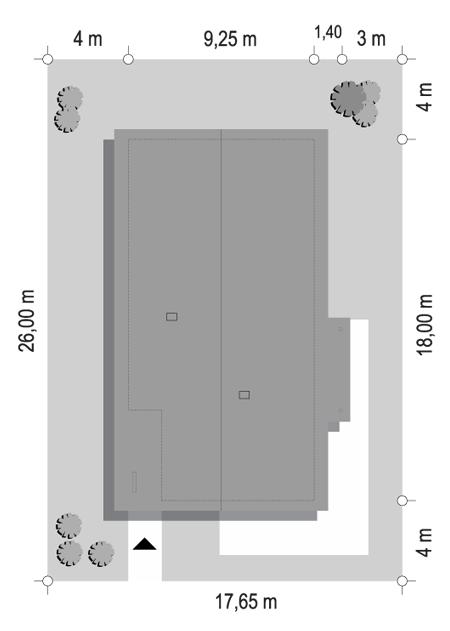 Projekt domu Wąski 2 - sytuacja odbicie lustrzane