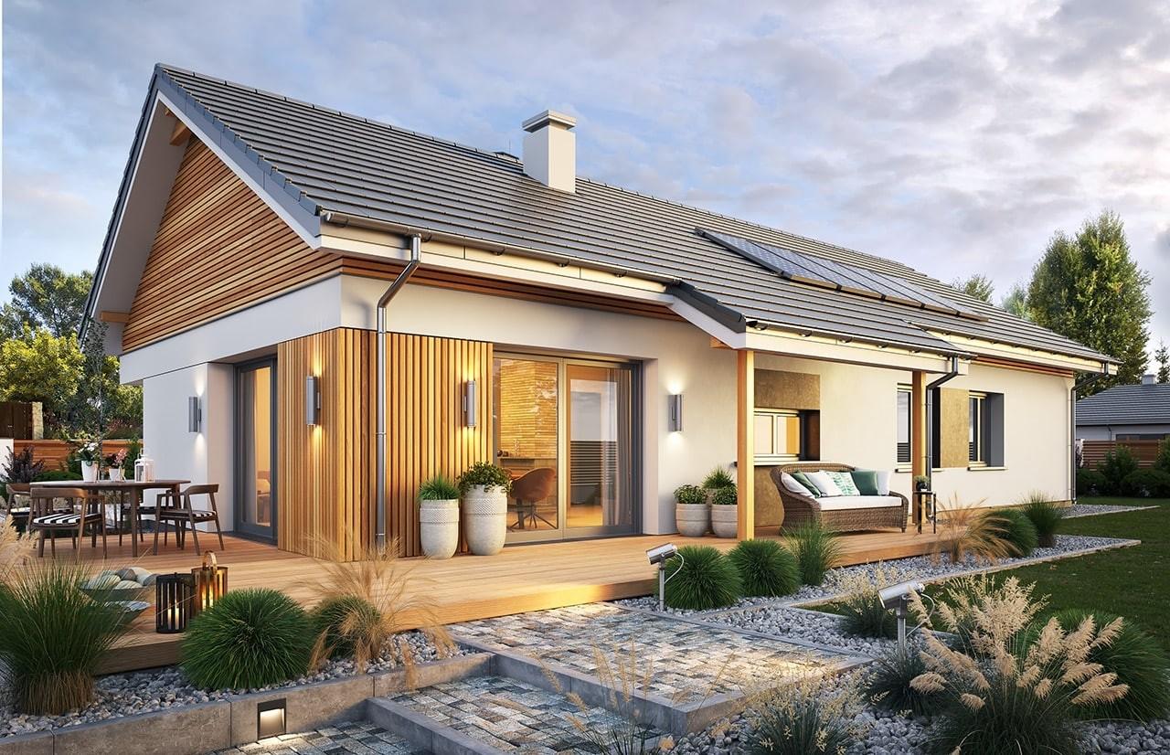 Projekt domu Wąski 2 - wizualizacja ogrodowa odbicie lustrzane
