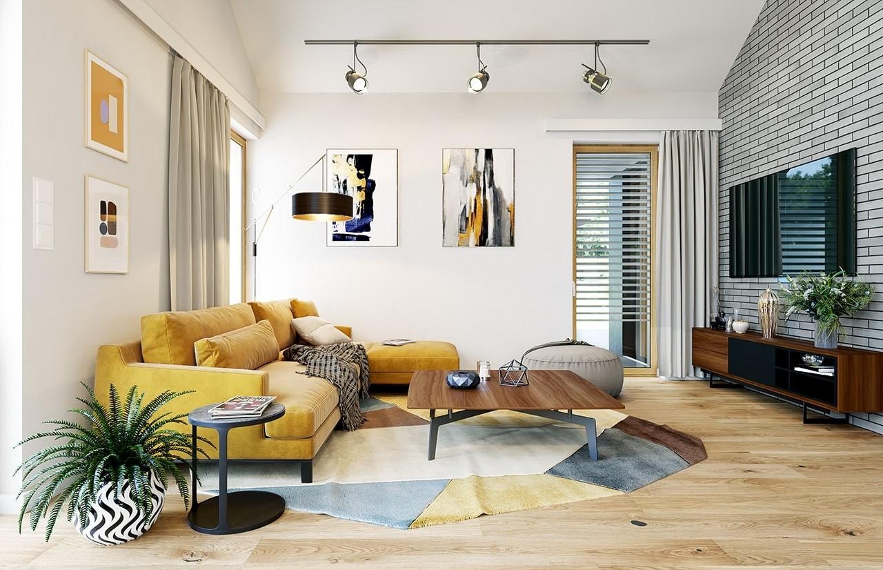 Projekt domu Wąski 2 - wizualizacja wnętrza odbicie lustrzane