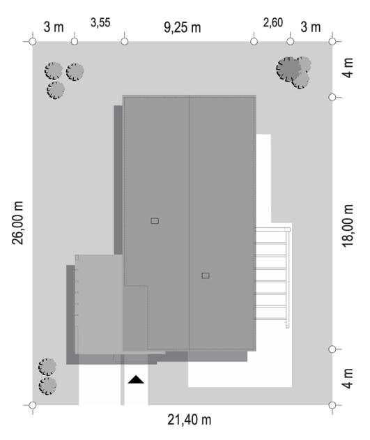Projekt domu Wąski 3 - sytuacja odbicie lustrzane