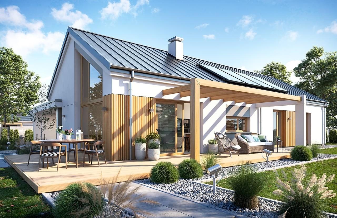 Projekt domu Wąski 3 - wizualizacja ogrodowa odbicie lustrzane