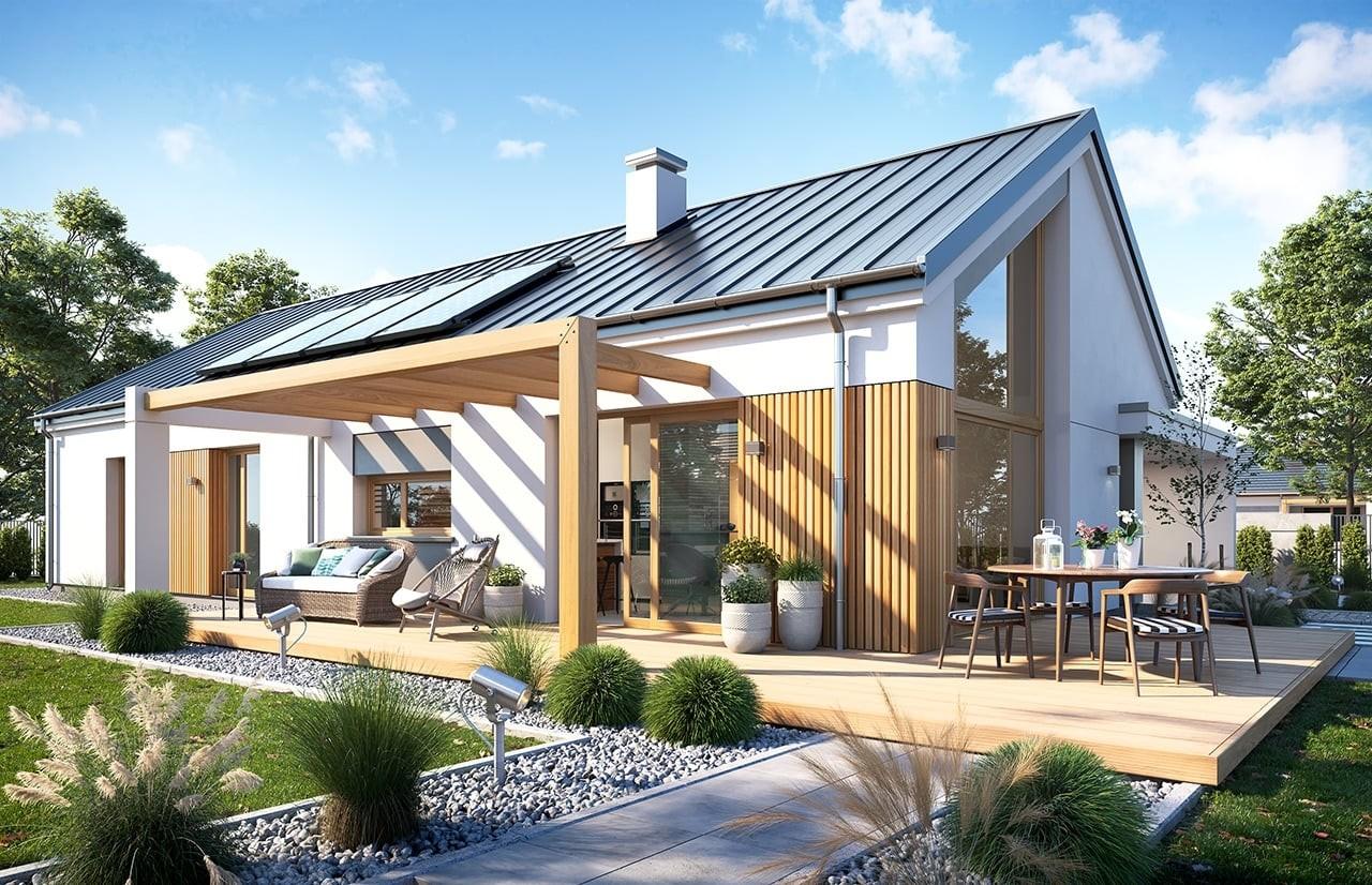 Projekt domu Wąski 3 - wizualizacja ogrodowa