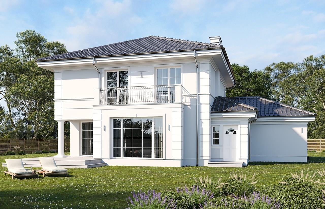 Projekt domu Willa diamentowa wariant D - wizualizacja tylna