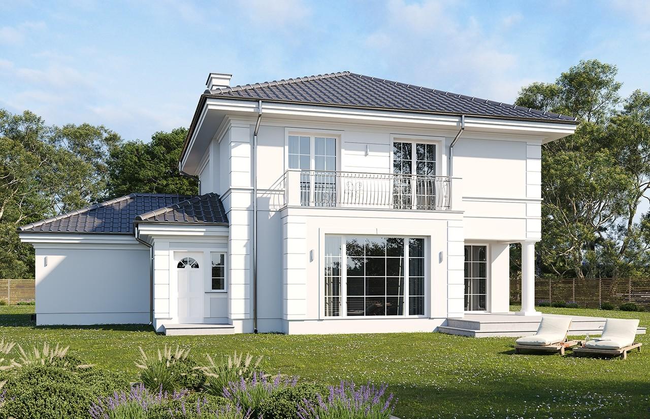 Projekt domu Willa diamentowa wariant D - wizualizacja tylna odbicie lustrzane