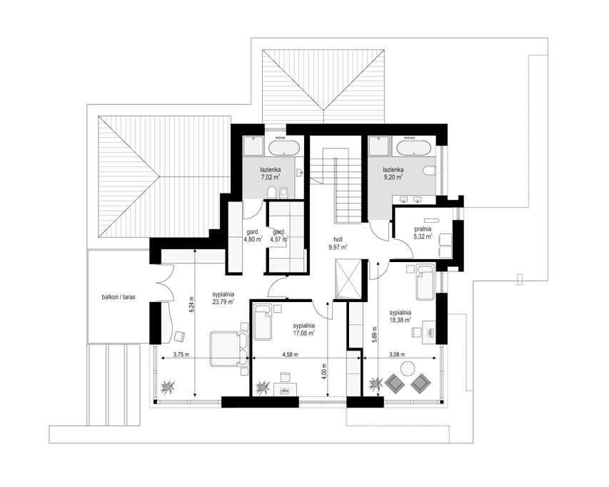 Willa Floryda 3 - rzut piętra