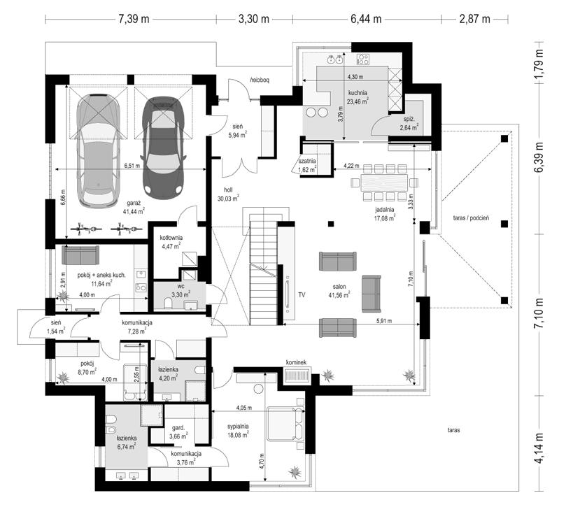 Projekt domu Willa komfortowa - rzut parteru odbicie lustrzane