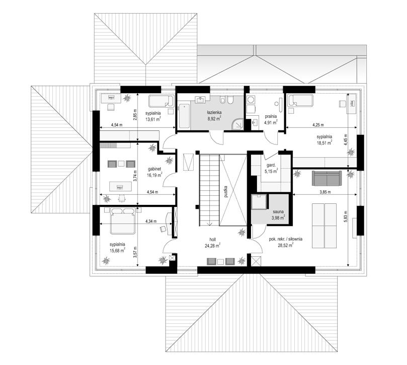 Projekt domu Willa komfortowa - rzut piętra