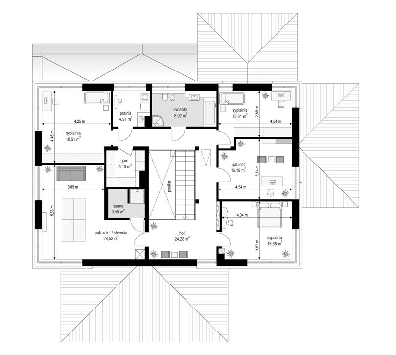 Projekt domu Willa komfortowa - rzut piętra odbicie lustrzane