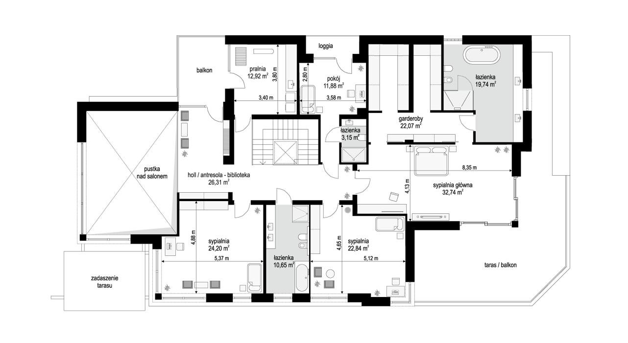 Willa moderna - rzut piętra