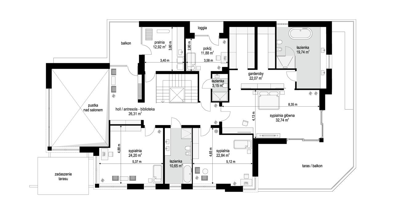 Willa moderna 2 - rzut piętra