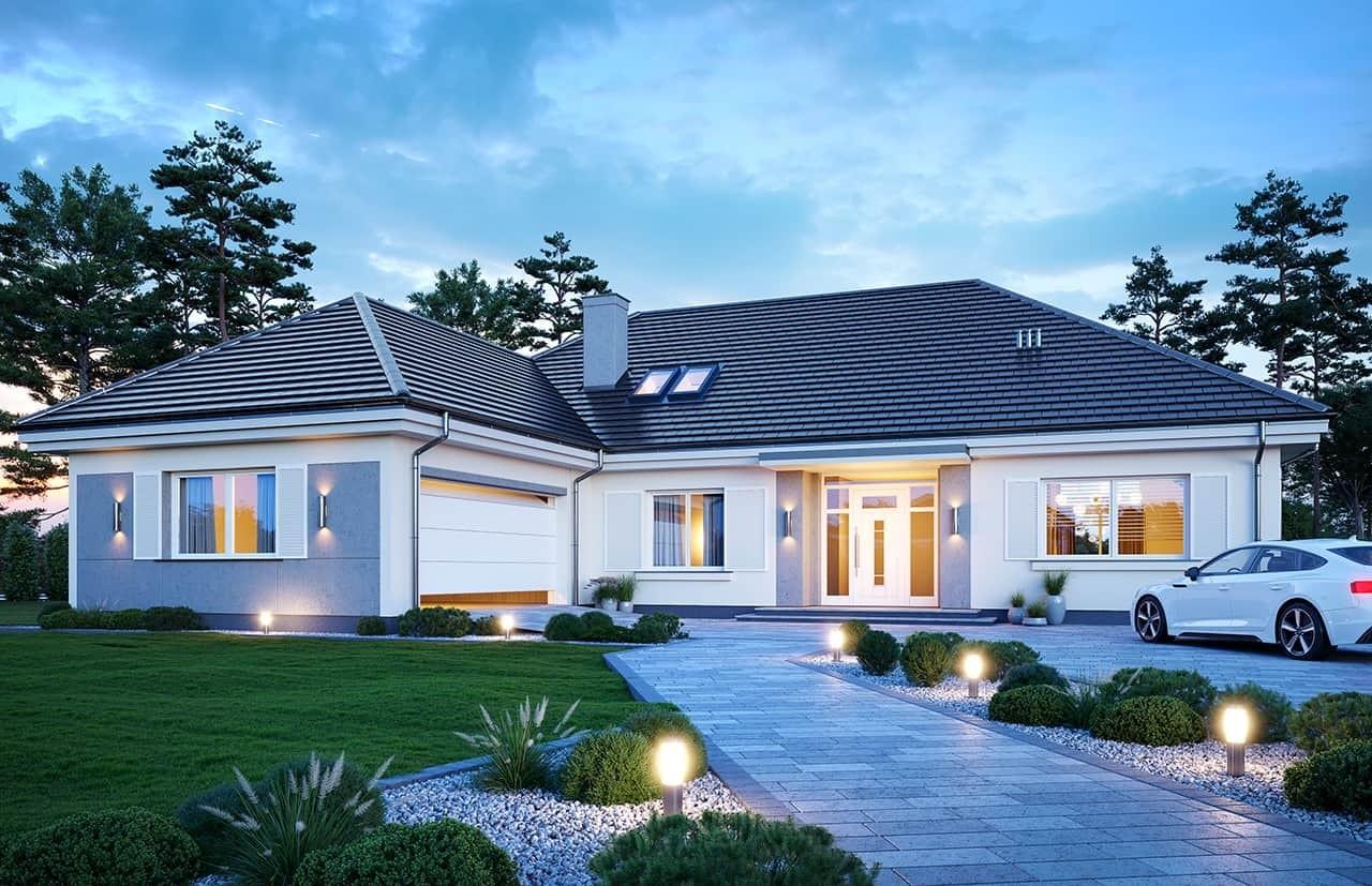 Projekt domu Willa Parkowa 4 wariant B - wizualizacja frontowa