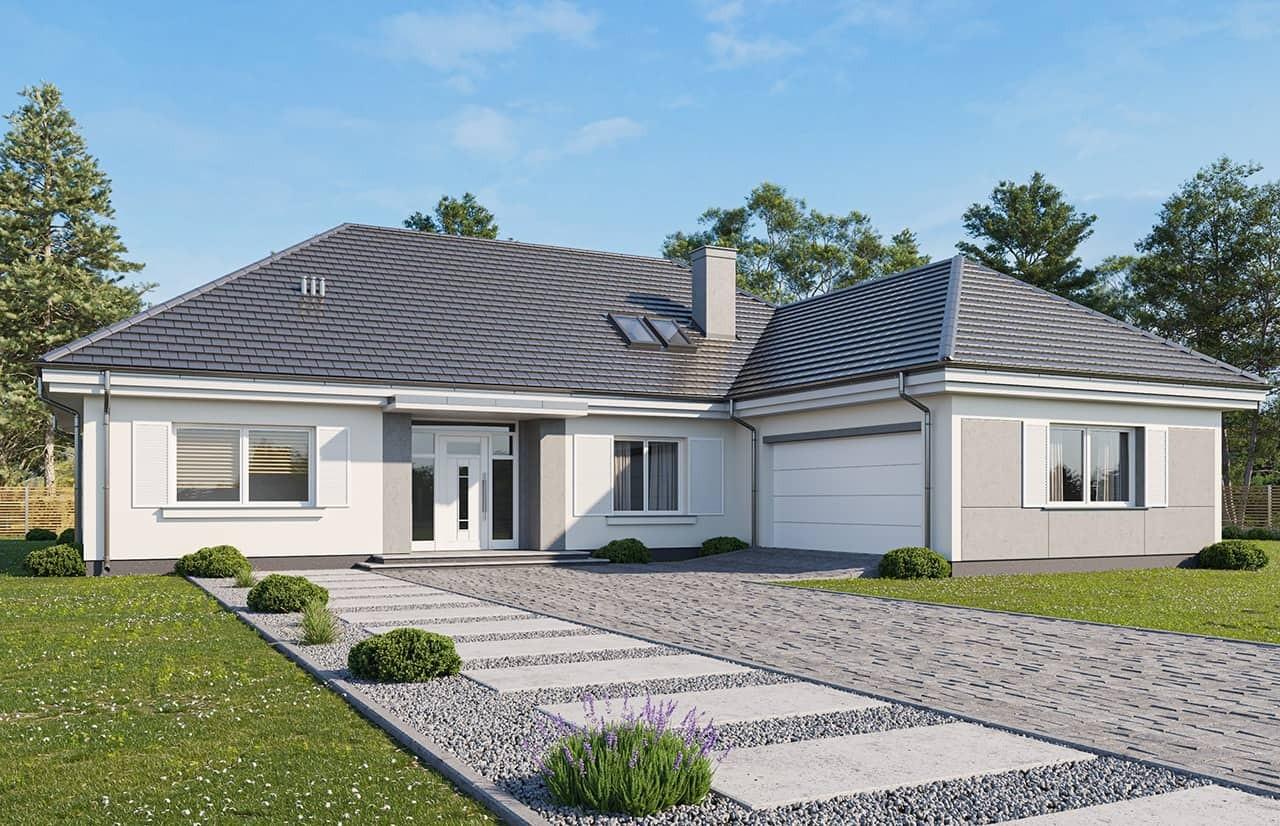 Projekt domu Willa Parkowa 4 wariant B - wizualizacja frontowa odbicie lustrzane