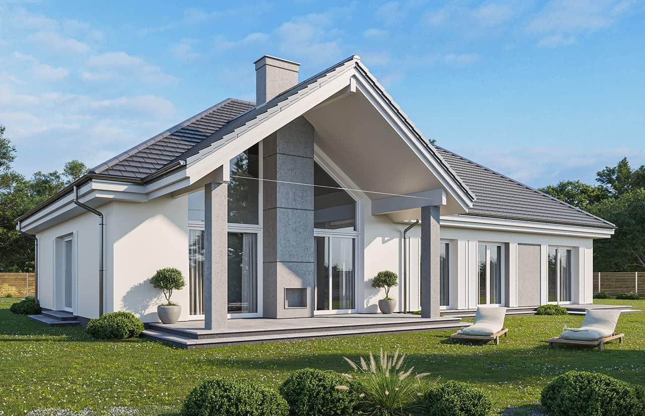 Projekt domu Willa Parkowa 4 wariant B - wizualizacja tylna