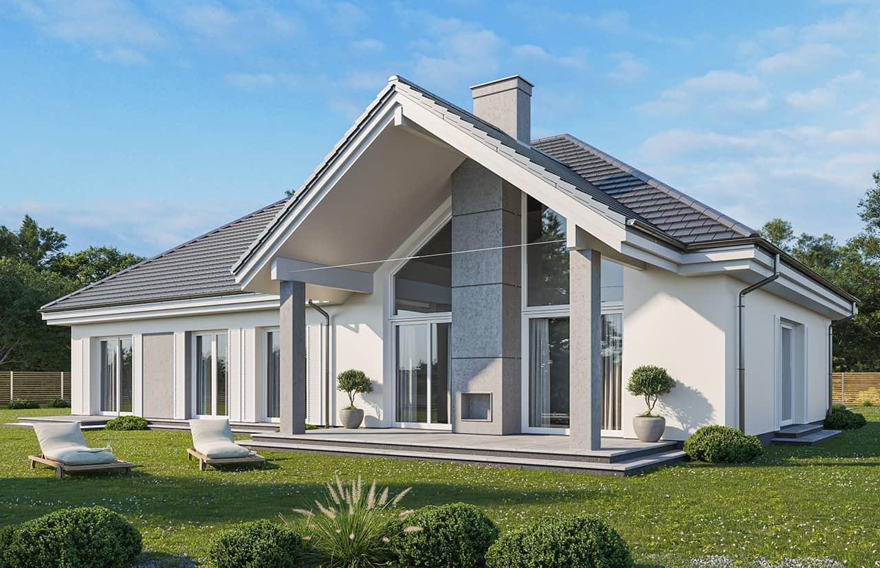 Projekt domu Willa Parkowa 4 wariant B - wizualizacja tylna odbicie lustrzane