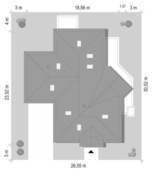 Projekt domu Willa parkowa 7 - sytuacja