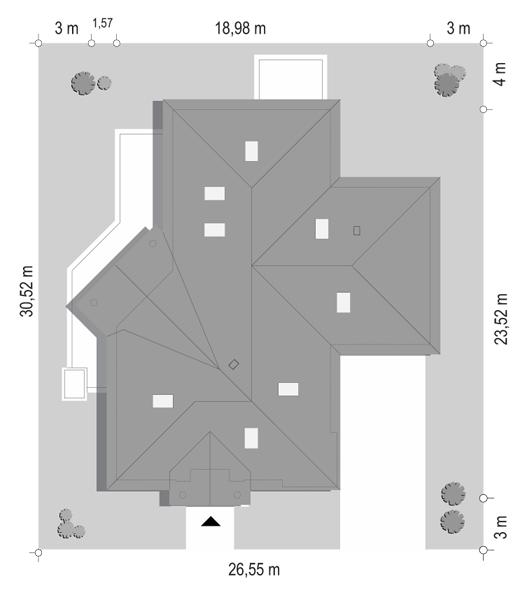 Projekt domu Willa parkowa 7 - sytuacja odbicie lustrzane