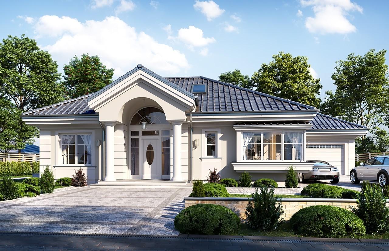 Projekt domu Willa parkowa 7 - wizualizacja frontu 2 odbicie lustrzane