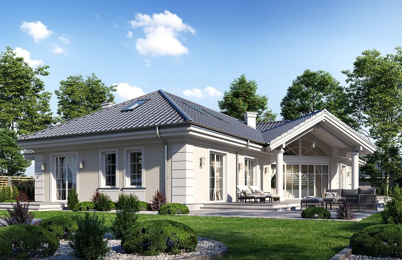 Projekt domu Willa parkowa 7 - wizualizacja ogrodowa 2 odbicie lustrzane