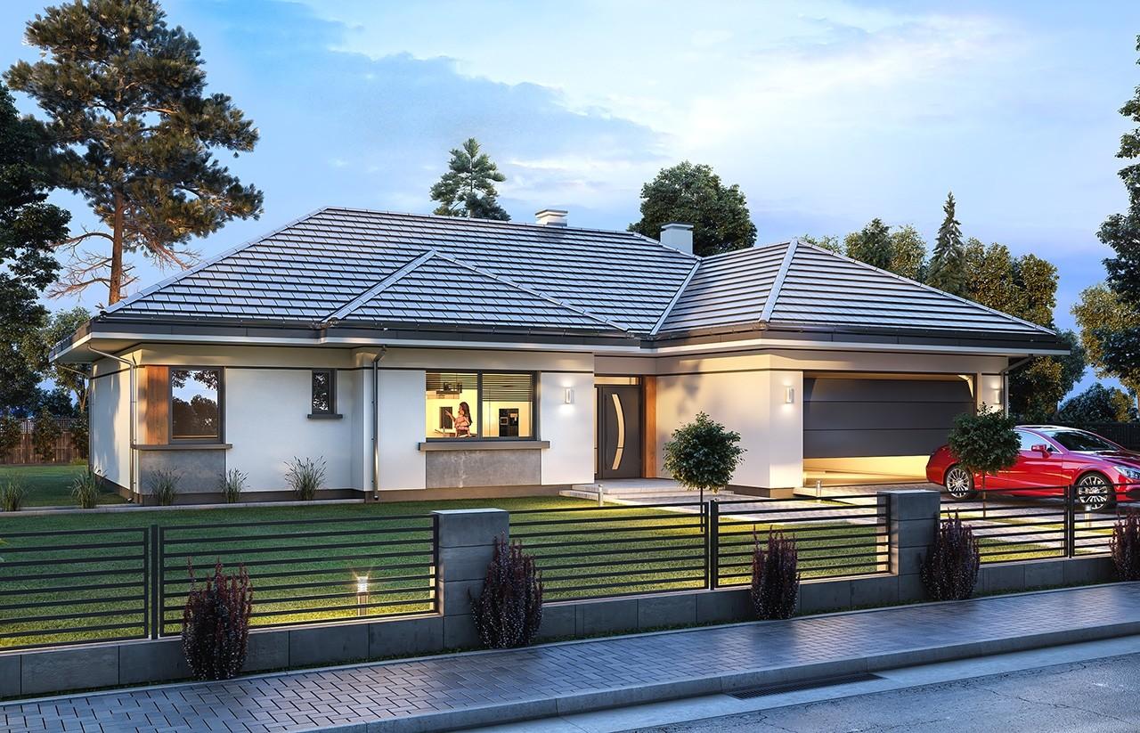 Projekt  domu Willa Parterowa 2 wariant D - wizualizacja frontowa