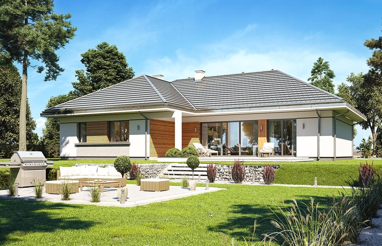 Projekt  domu Willa Parterowa 2 wariant D - wizualizacja tylna