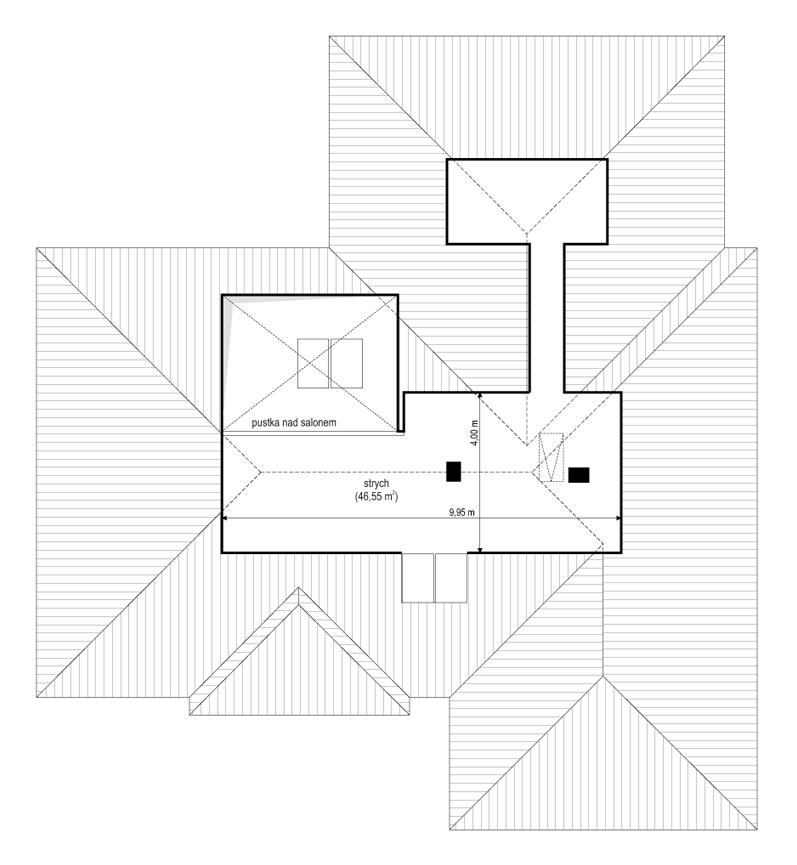 Projekt domu Willa parterowa 3 - rzut strychu