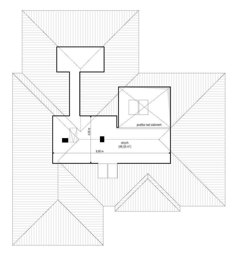 Projekt domu Willa parterowa 3 - rzut strychu odbicie lustrzane