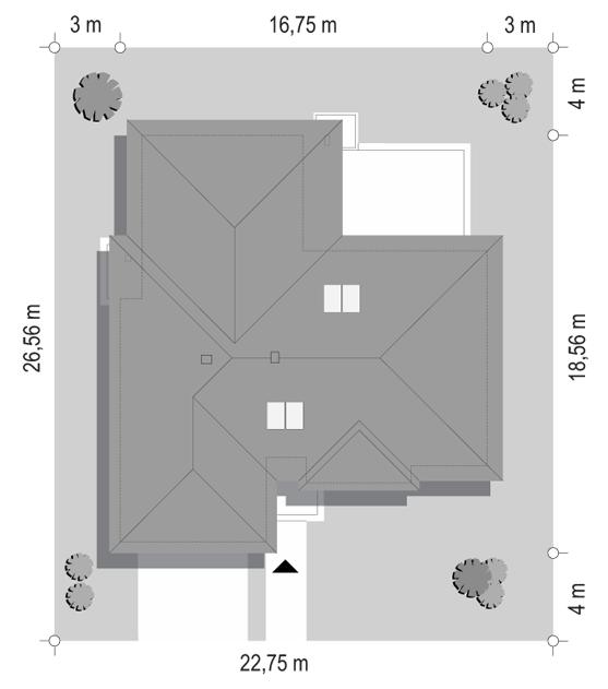 Projekt domu Willa parterowa 3 - sytuacja odbicie lustrzane