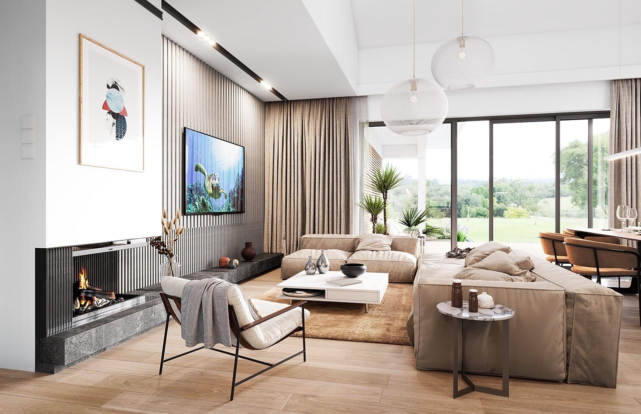 Projekt domu Willa parterowa 3 - wizualizacja wnętrza odbicie lustrzane