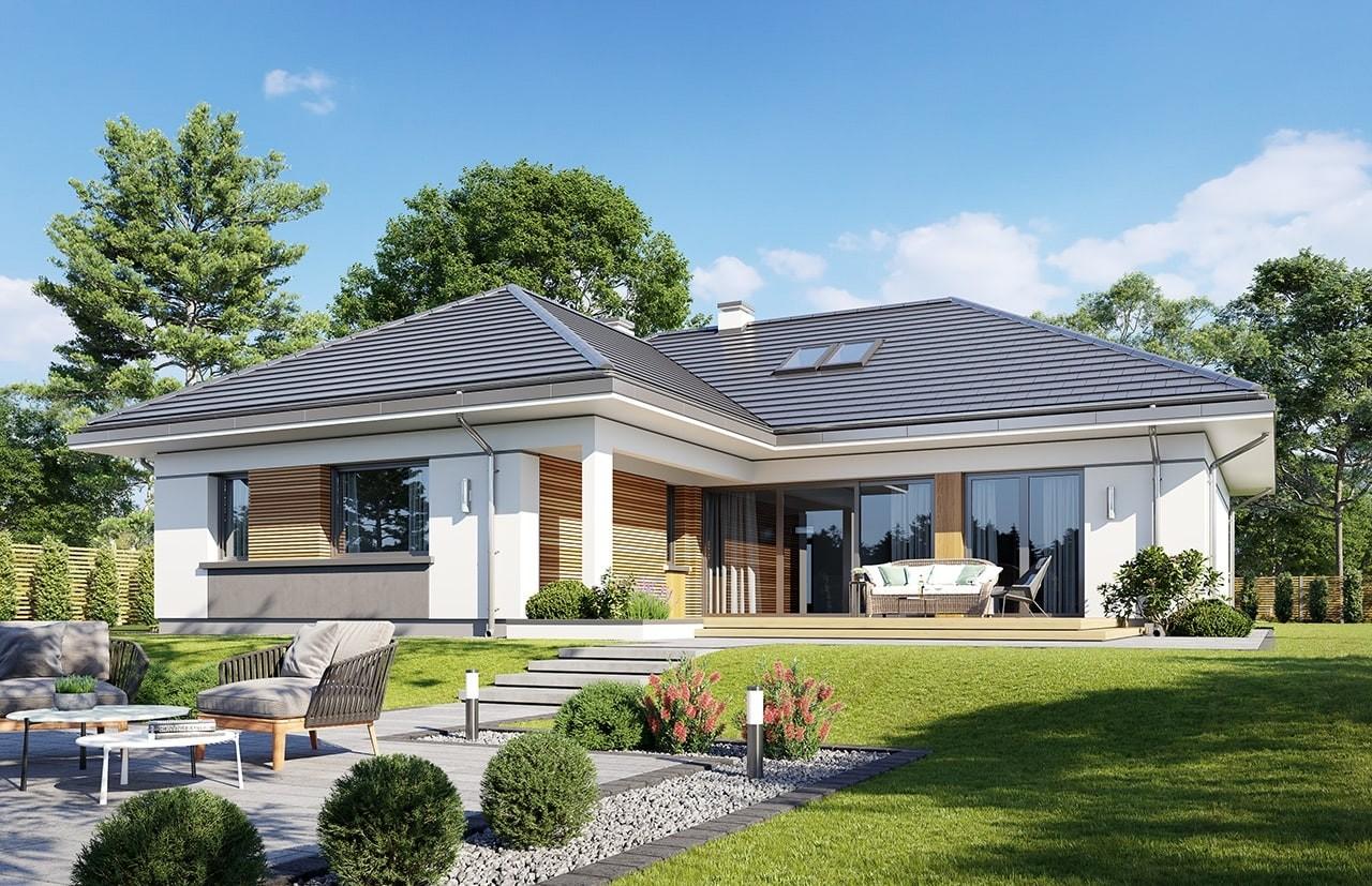 Projekt domu Willa parterowa 3 - wizualizacja ogrodowa