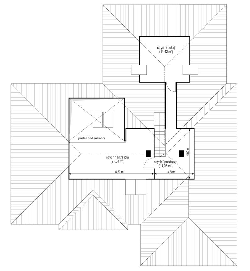 Projekt domu Willa parterowa 4 - rzut strychu
