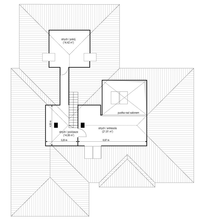 Projekt domu Willa parterowa 4 - rzut strychu odbicie lustrzane