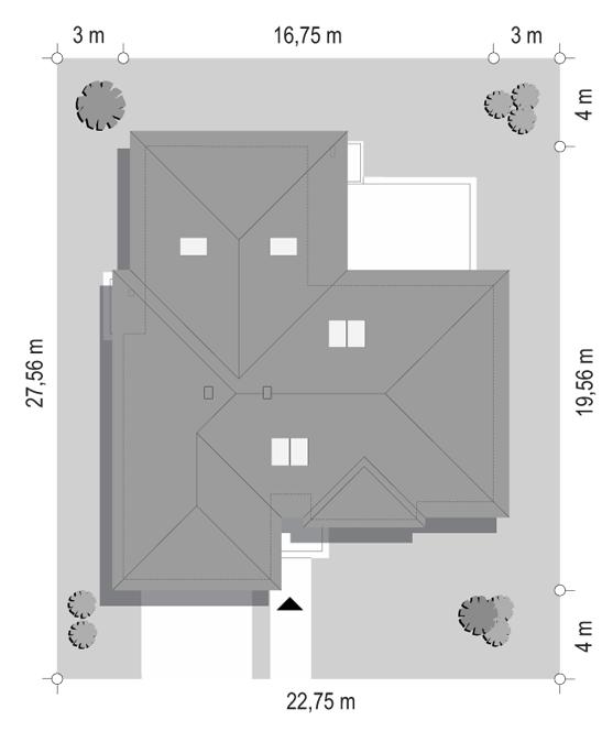 Projekt domu Willa parterowa 4 - sytuacja odbicie lustrzane