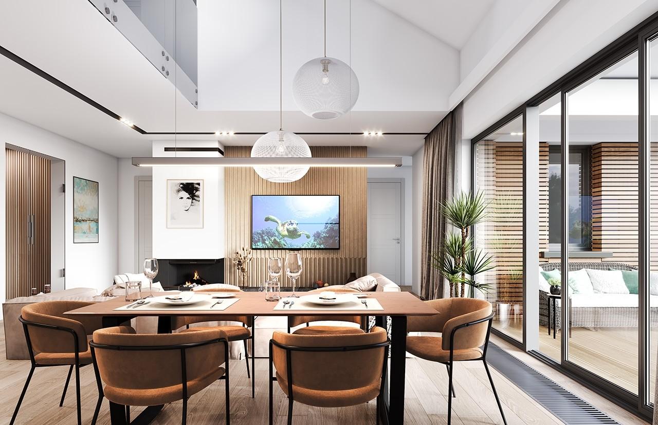 Projekt domu Willa parterowa 4 - wizualizacja wnętrza odbicie lustrzane